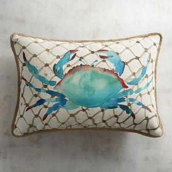 Crab Printed Lumbar Pillow