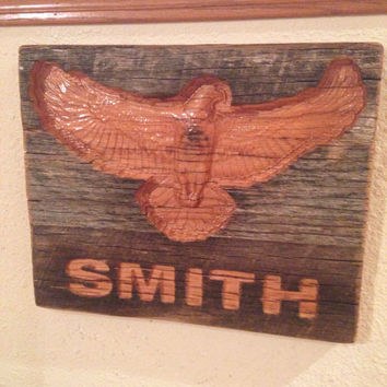 Flying Eagle With Wings Open Carved in Rustic Primitive Wood Personalized Sign
