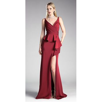 Burgundy V-Neck Long Prom Dress with Ruffles and Slit