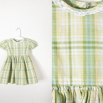 1950s Baby Dress / 50s Style Dress / Baby Girl Clothing / Girls Plaid Dress / Retro Baby Dress / Vintage 60s Dress / Olive Green Dress