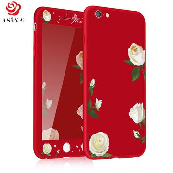 ASINA 360 Degree Full Protection Case For iPhone 6 6S Ultra Thin Flower Pattern Case For iPhone 6 6S Plus Silicone Coque