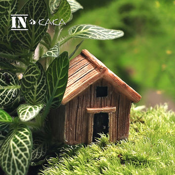 Micro fairy garden figurines kawaii wood board house miniatures/terrarium doll house decor/succulents DIY ornaments accessories