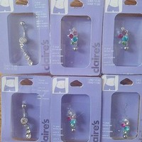 NIP Claires Stainless Set 6 Silvertone W/ Rhinestone 14 Gauge Belly Button Rings