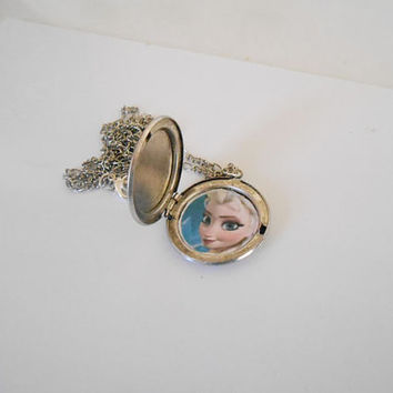 Once Upon A time Fairytale Frozen Elsa silver Locket necklace