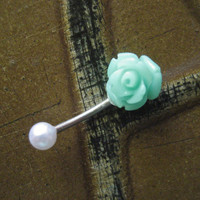 16 Gauge Mint Green Rose Pearl Eyebrow Rook Jewelry Piercing Turquoise Earring Ear Bar Barbell 16g G