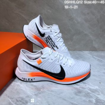DCCK N1005 Nike Zoom Pegasus Turbo 2 Off White Flex RN Knit Running Shoes White Orange