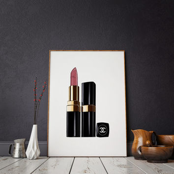 COCO art Chanel Print Makeup Painting LIPSTICK PRINT Makeup Print Lipstick Print  Glam Room Chanel Print Fashion Painting Chanel Lipstick