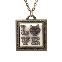 Folk Art Love Cat Picture Frame Necklace