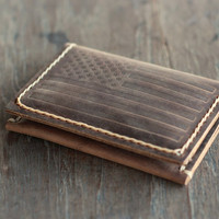American Flag Leather Wallet - - - Men's Leather Wallets Rustic Bifold Faded Perfection - - JooJoobs Original Design