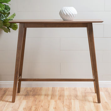 Margaret Natural Walnut Finish Wood Bar Table