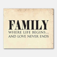 Family where life begins...and love never ends - Typography Art Print - Family Wall Art - 8x10 on vintage, chalkboard, or distressed