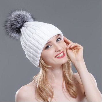 LMF9GW 2016 Winter Hats for Women Thick Silver Fox Fur Ball Pompon Beanies Women Hat Warm Knitted Cute Female Fashion Caps MZ029
