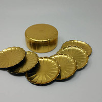 Vintage Gold Otagiri Japanese Coaster Set Scallop Shape