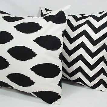 Two Black Couch Pillows 18 x 18 inches Ikat by CastawayCoveDecor