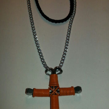 Neon orange single color wire wrapped horseshoe nail cross necklace jewelry