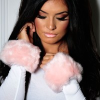 Alanaa Pink Faux Fur Fluffy Cuffs | Pink Boutique