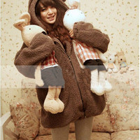 Free Shipping New Fashion Womens Winter Warm Cartoon Bear Ear Hoodie Hooded Outerwear Jackets Coats-in Fur & Faux Fur from Women's Clothing & Accessories on Aliexpress.com | Alibaba Group