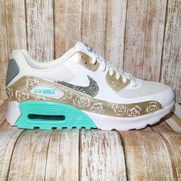 Bling nike air max 90 - custom painted nike shoes - bling nike shoes - custom painted