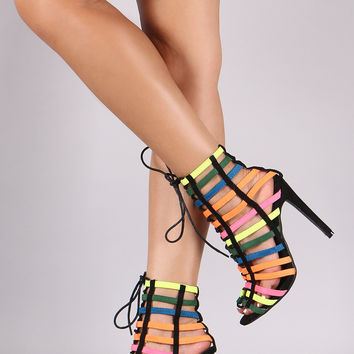 Suede Neon Straps Lace Up Heel