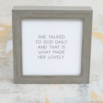 Altar'd State Talked To God Daily Framed Wall Art - Gifts/Home Decor
