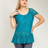 Poshed Apparel — Plus Size Teal Lace Peplum Top