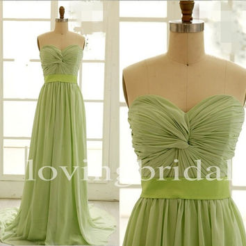 Elegant Long A Line Chiffon Bridesmaid Dresses Pleating Prom Dresses Party Dresses Formal Evening Dresses 2014 New Fashion