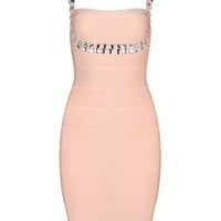 Light Pink Sleeveless Rhinestone Beaded Bodycon Dress