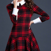 Pointed Flat Collar Plaid Long Sleeve Low Waist Mini Skater Dress