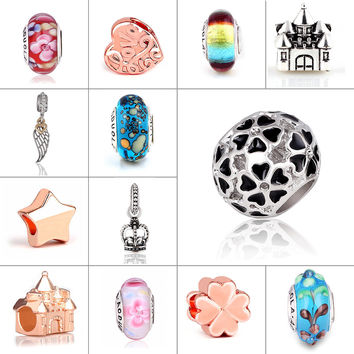 Mix beads glass and Alloy rose gold Bead Round Shape Flower DIY Big Hole Beads Spacer Murano Bead Charm Fit For Pandora Bracelet
