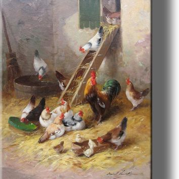 Rooster, Hens, and Little Chicks in Chicken Coop by Neuville, Picture on Stretched Canvas Wall Art Décor, Ready to Hang!