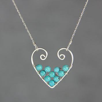 Sterling silver turquoise heart pendant necklace Free US Shipping handmade anni designs