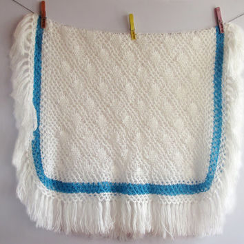 Decorative Tablecloth Bosnian Traditional Handmade Vintage Crochet 100% Cotton White with Blue Edges