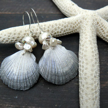 Love on a Caribbean Beach - wearable art polymer clay white silver rustic keishi pearl beach shell earrings.