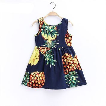 1-8Y Cotton Dress for Girls Pineapple Blue Ribbon Girl Beach Floral Dresses
