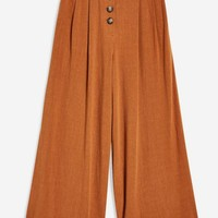 Horn Button Crop Wide Trousers - New In Fashion