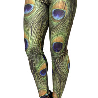 Peacock Print Leggings Design 177