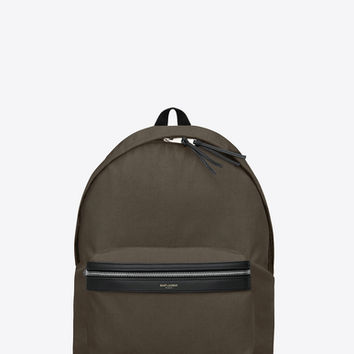 CLASSIC HUNTING BACKPACK IN Khaki Nylon Canvas and Black leather