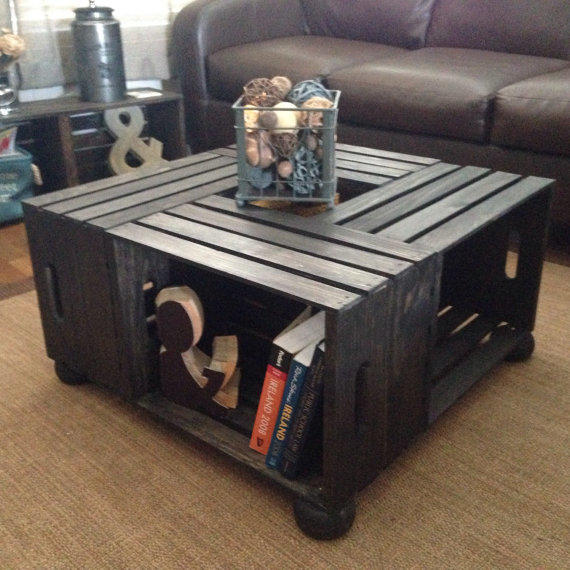 Raised wood wine crate coffee table from sugarriverrestore on for Coffee table from wooden crates