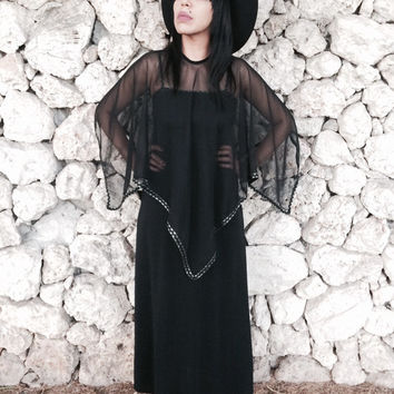 Vintage 70s Long Black Witchy Empire Waist Chiffon Capelet Scarf Maxi Dress M