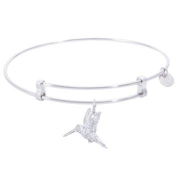 Sterling Silver Confident Bangle Bracelet With Hummingbird Charm