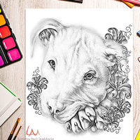 Coloring Book page, Coloring Pages, Instant download coloring, Pit Bull, adult coloring, coloring for adults, Printable coloring page