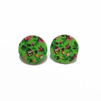 Bright Green Floral Wooden Disc Earrings