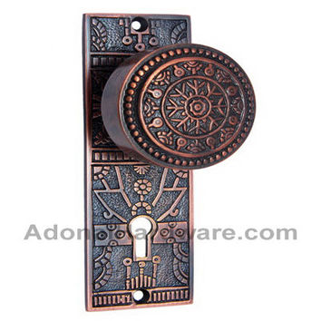 Hezekiah Brass Door Knob with Plate