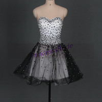 2014 short black and white tulle prom dresses with crystals,best cute sweetheart gowns for party hot,discount homecoming dress on sale.