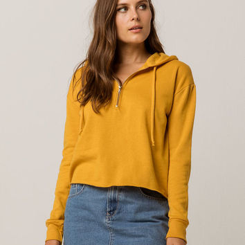 SKY AND SPARROW Half Zip Mustard Womens Crop Hoodie