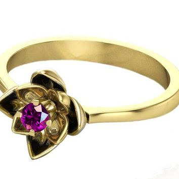 Amethyst Flower Ring Lotus Ring Purple Flower Ring 18K Yellow gold Engagement gift