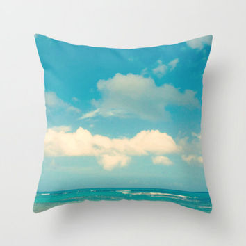 Decorative Throw Pillow Cover - Beach Photo of Turquoise Ocean and Blue Sky - Accent Pillow Case