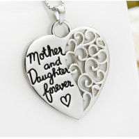 Sterling Silver Mother and Daughter Forever Heart Pendant Necklace