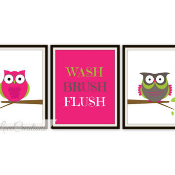 Owl Bathroom Art Prints - Set of 3 Prints - Wash, Flush and Brush Prints - Kids Bathroom Decor - Bathroom Decor - Baby Decor - Baby Nursery