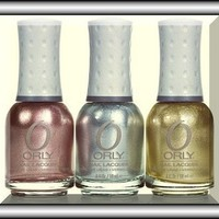Orly Lacquer Nail Polishes, Foil Fx 3 Bottles Collection Rage, Shine, Luxe
